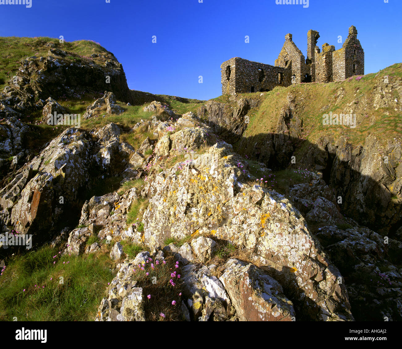 GB - Schottland: Dunskey Castle in Dumfries & Galloway Stockbild
