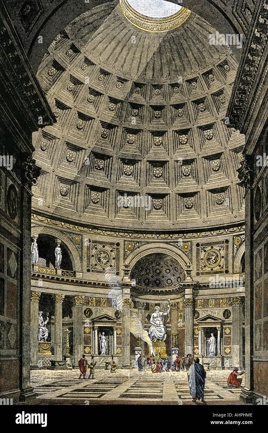 Innenraum des Pantheons im alten Rom Stockbild