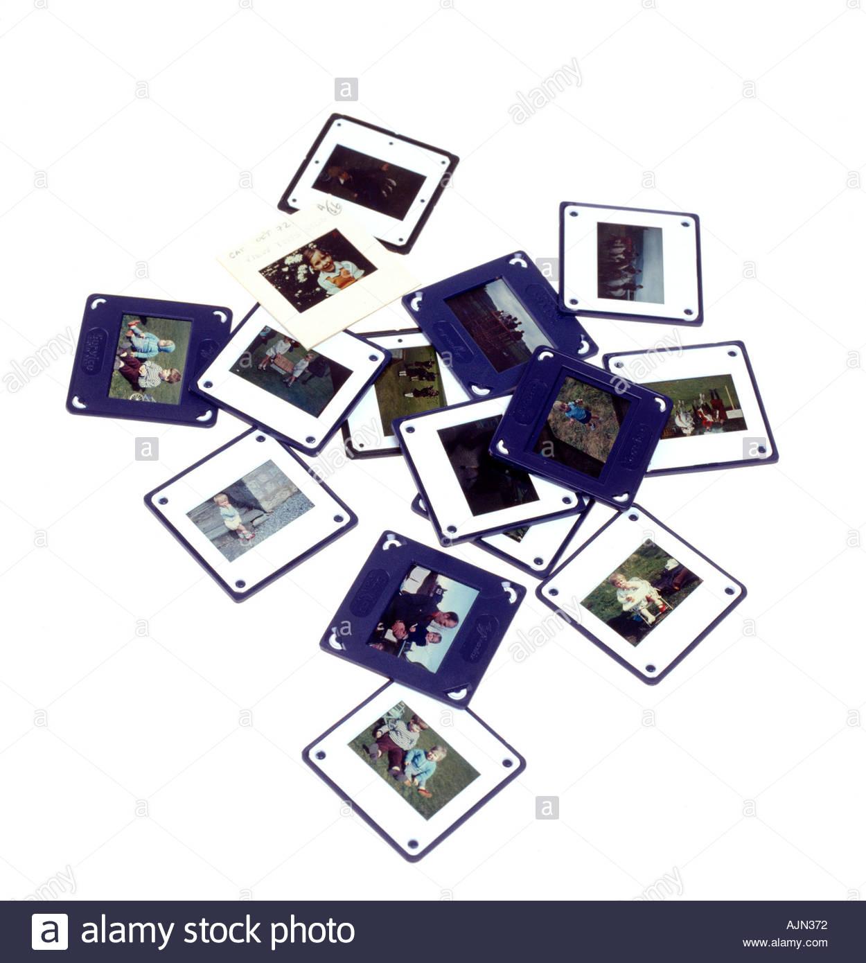 Farbe Transparenz Folien mit Familienfotos alle Bilder Modell veröffentlicht Stockbild