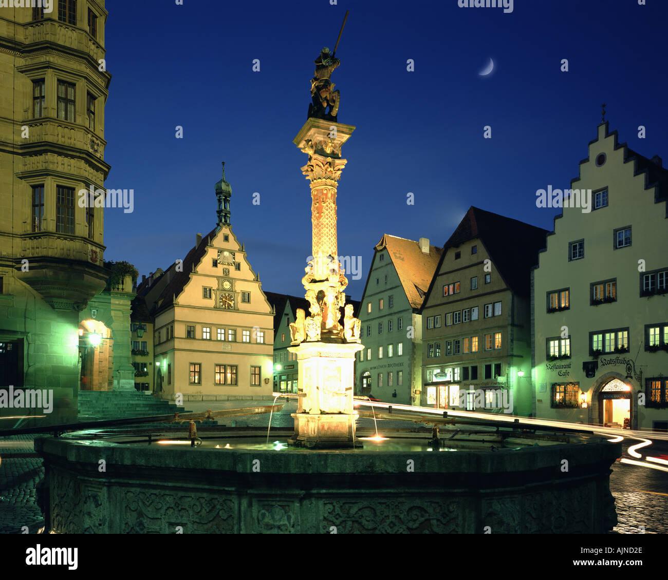 DE - Bayern: Der Marktplatz in Rothenburg Ob der Tauber Stockbild