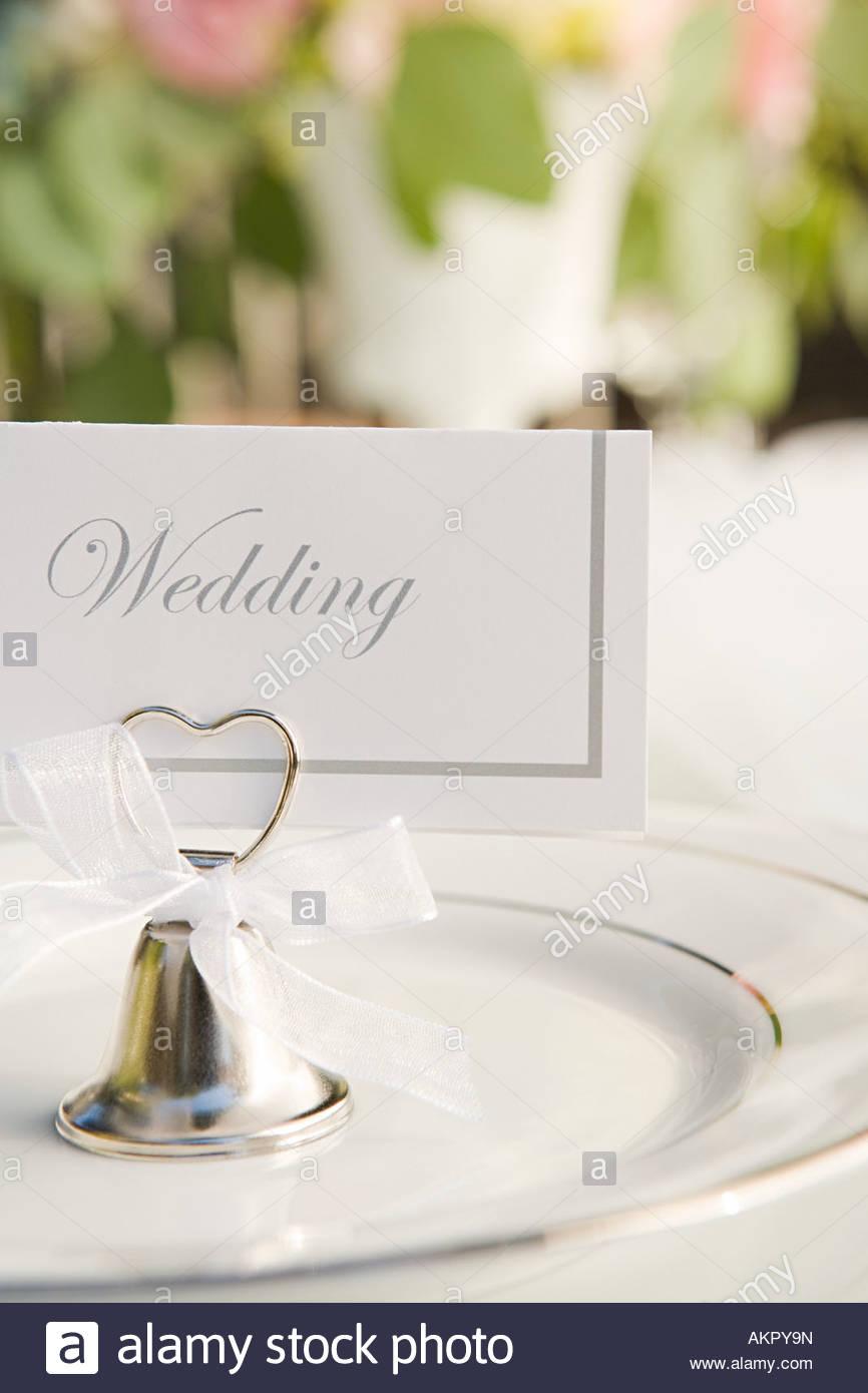 Gedeck bei einer Hochzeit Stockbild