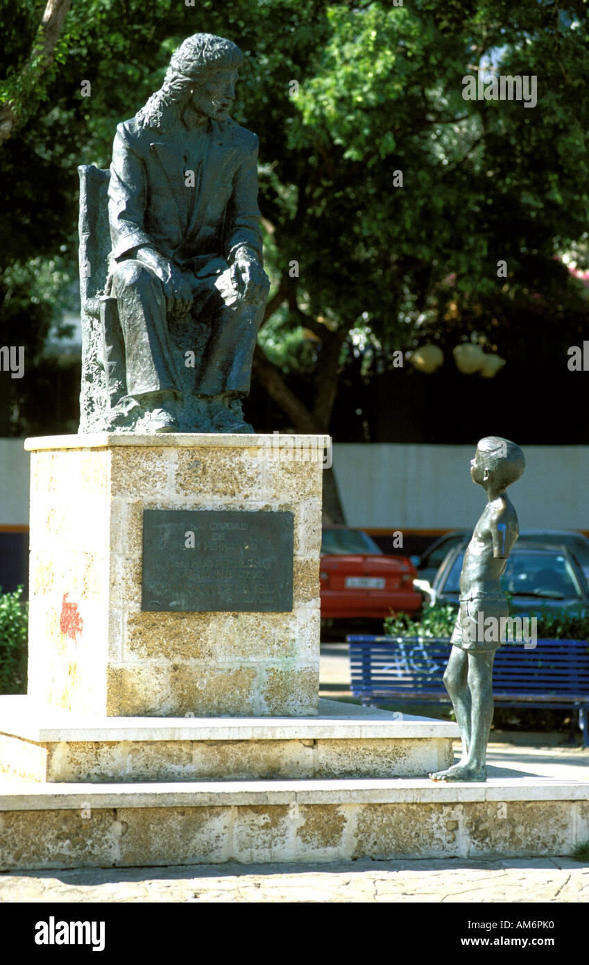 San Fernando die Statue des legendären Flamenco Sänger Camaron De La isla Stockbild
