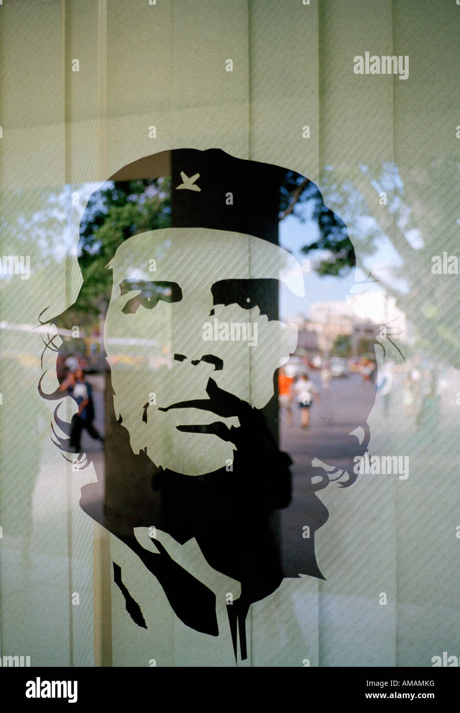 Ein Bild von Che Guevara in einem Fenster Stockbild