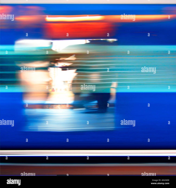 Zugfahrt Indien Yve Klein Blau Stockbild
