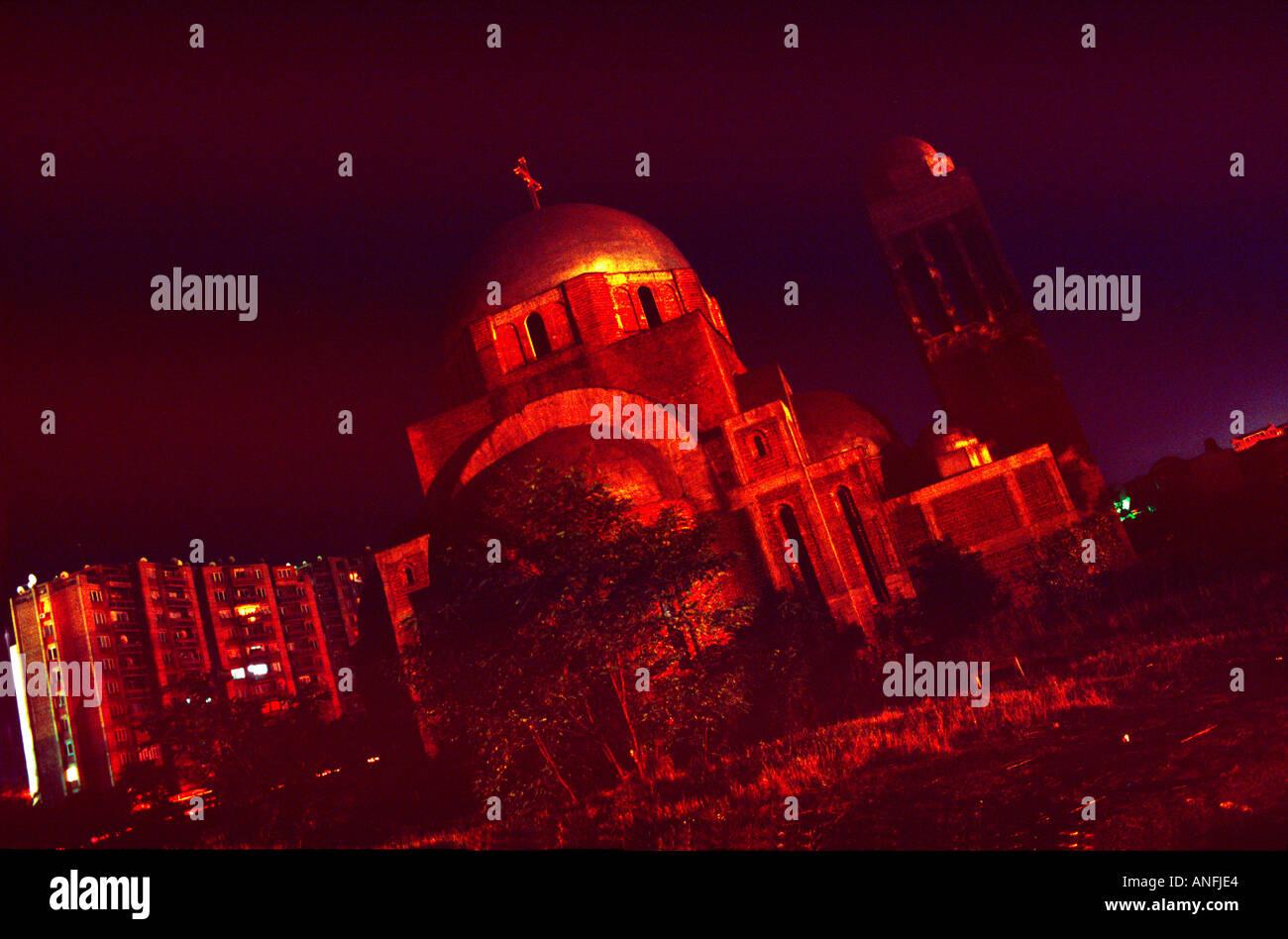 die Kirche in Prishtina nachts, kosovo Stockbild