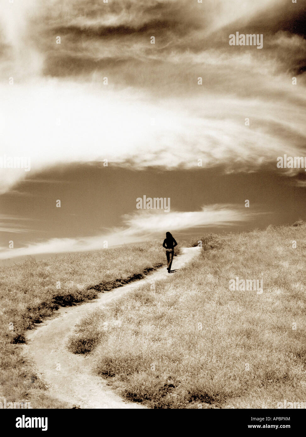 Frau geht Weg unterwegs gewundenen Pfad Kurve weniger befahrenen Reise schwarz und weiß Stockbild