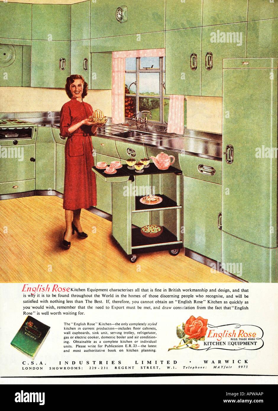 1950er Jahre Küche Englische Rose design Werbung 1958 EDITORIAL verwenden nur Stockbild
