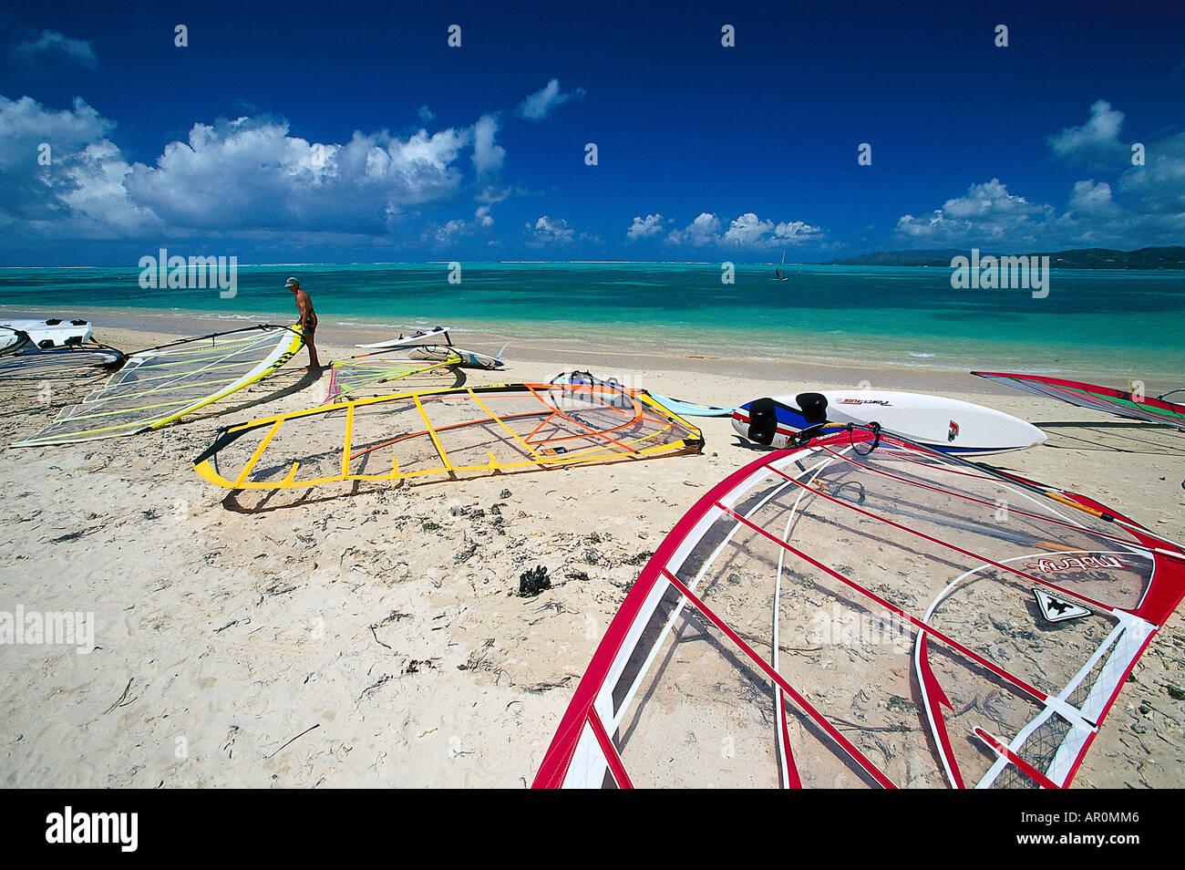 Strand, Windsurfen, Tobago, Antillen, Karibik Stockbild