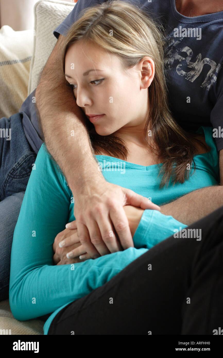 besorgt junge Frau Stockbild
