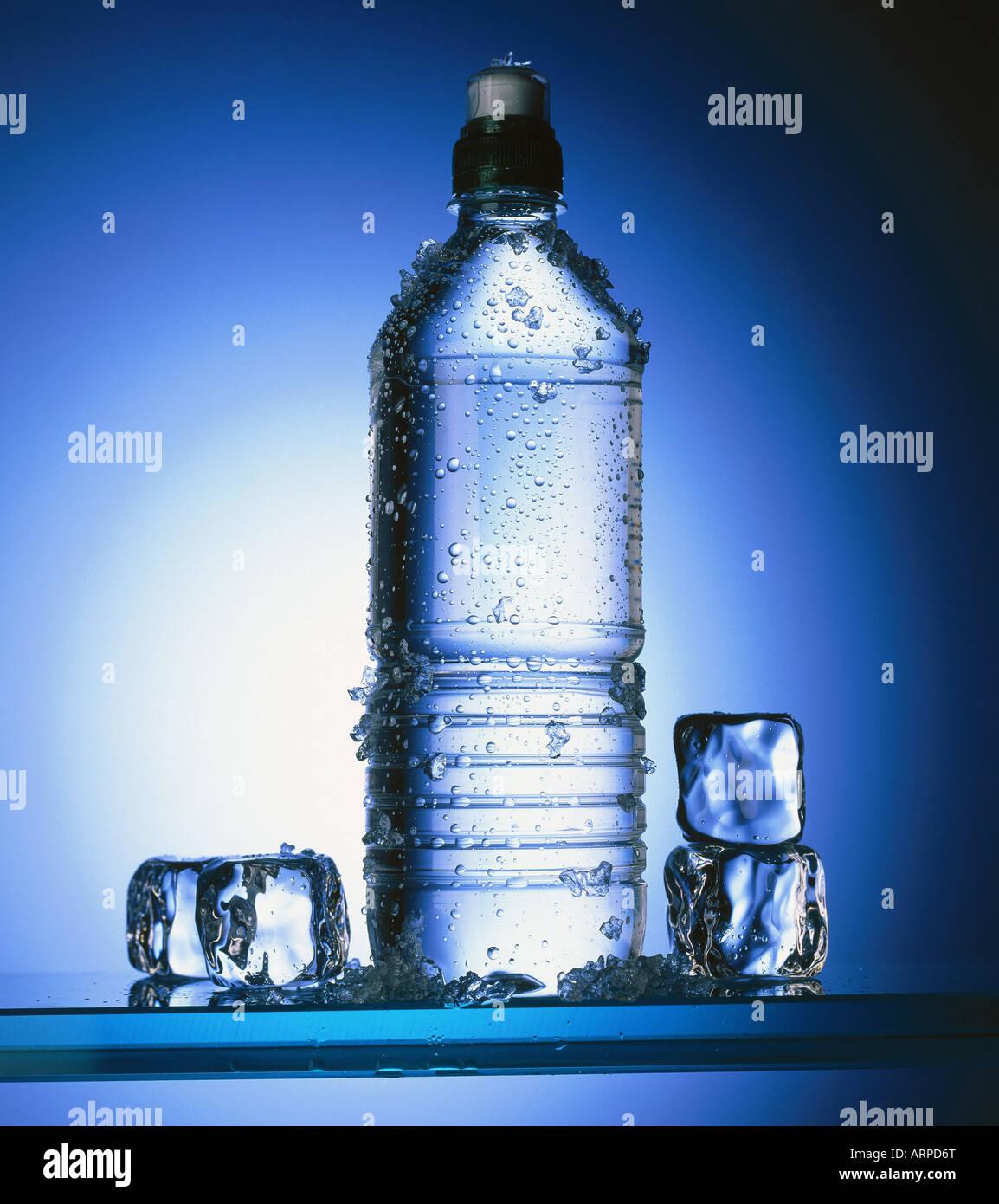 Flasche Wasser w Eiswürfel Stockbild