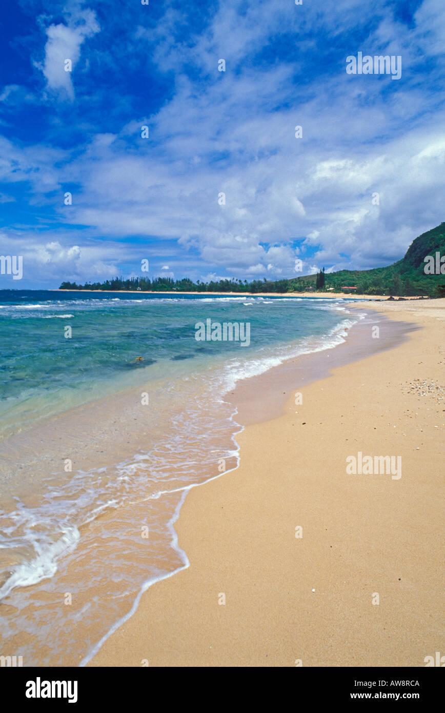 Blue Pacific Wasser und weißen Sandstränden am Tunnel Beach North Shore Insel Kauai Hawaii Stockbild