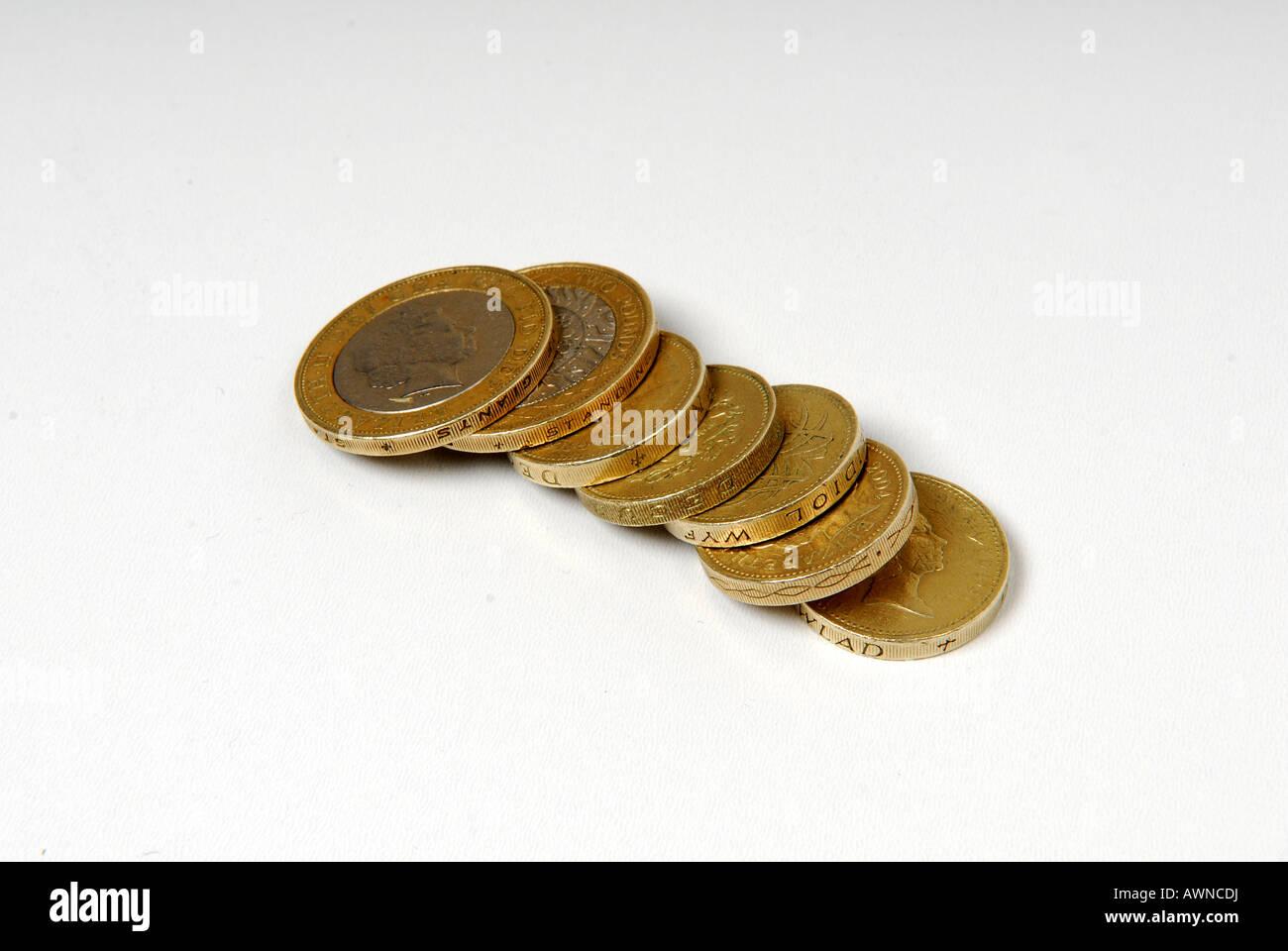 Englischer Sprache Geld Münzen. Stockbild