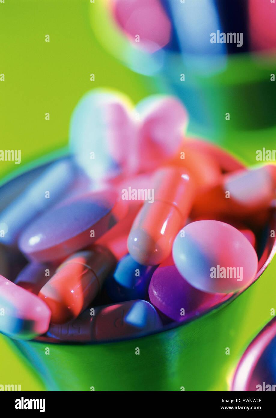 Verschiedene Pillen, close-up Stockbild