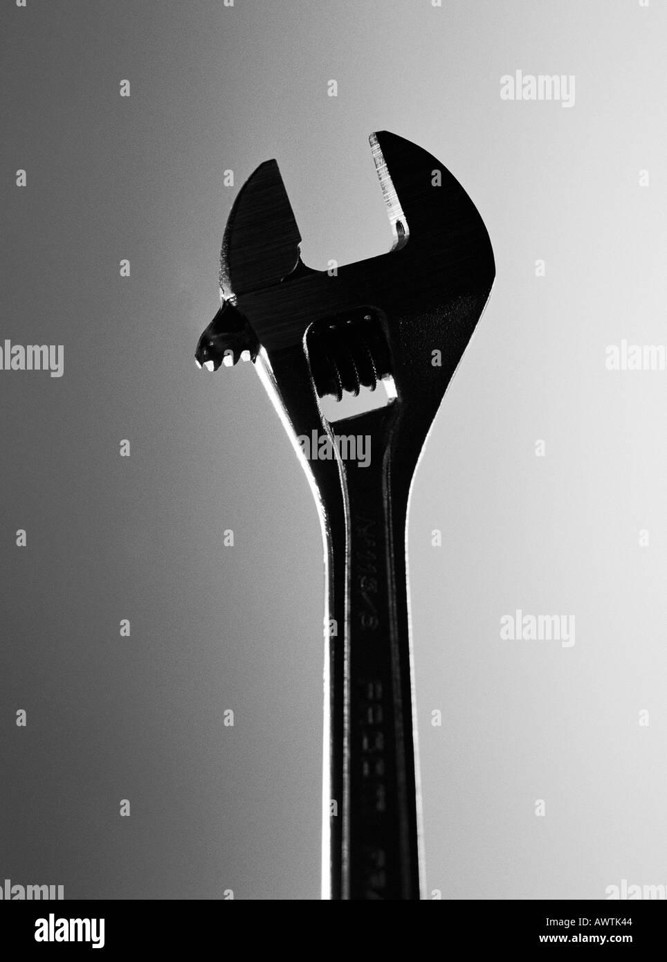Verstellbarer Schraubenschlüssel, close-up Stockbild