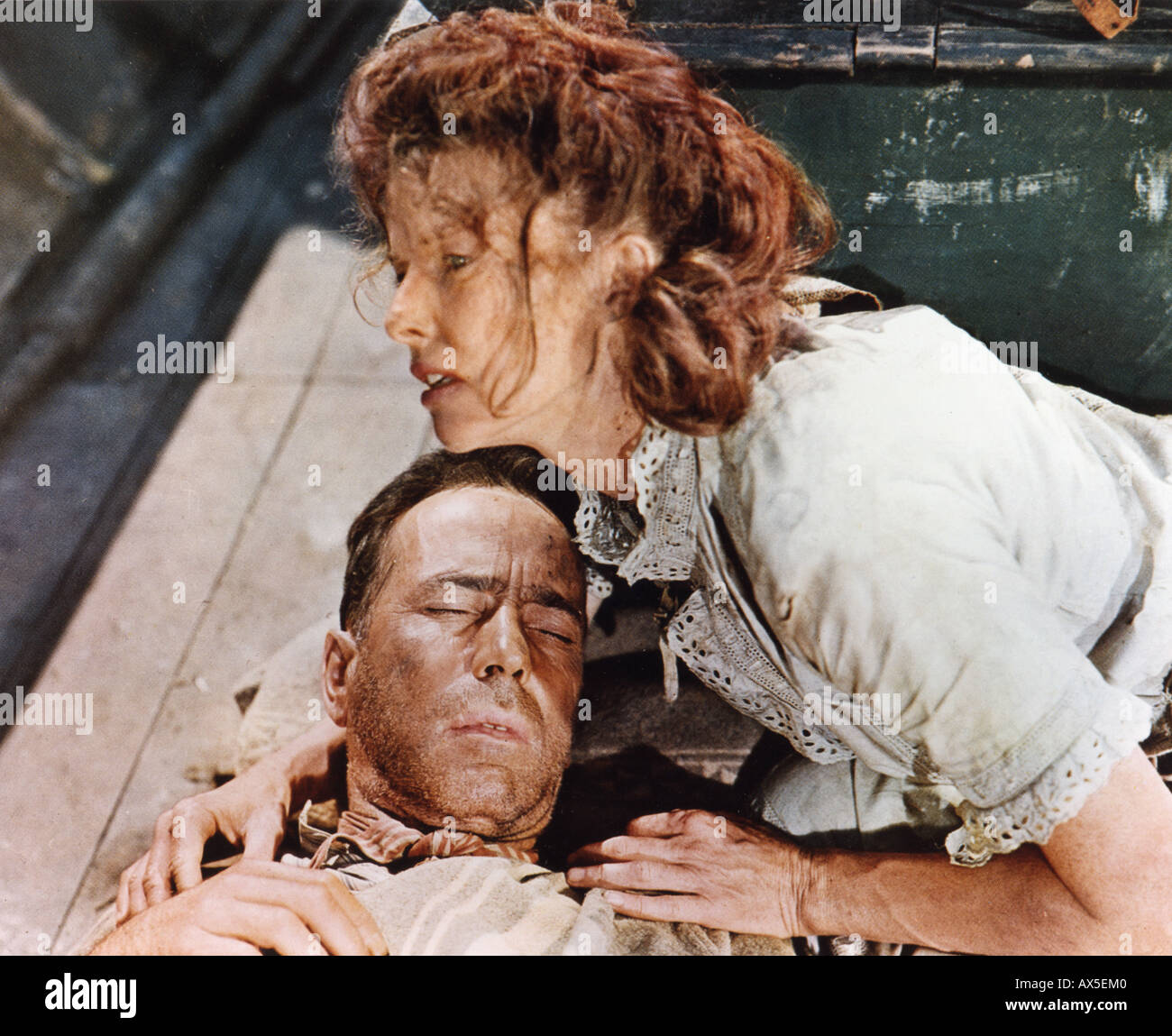 AFRICAN QUEEN 1951 IDF Film mit Katharine Hepburn und Humphrey Bogart Stockbild