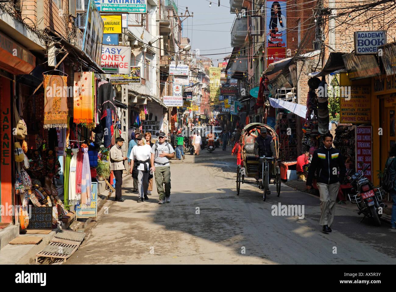 Straßenbild in Thamel, Kathmandu, Nepal Stockbild