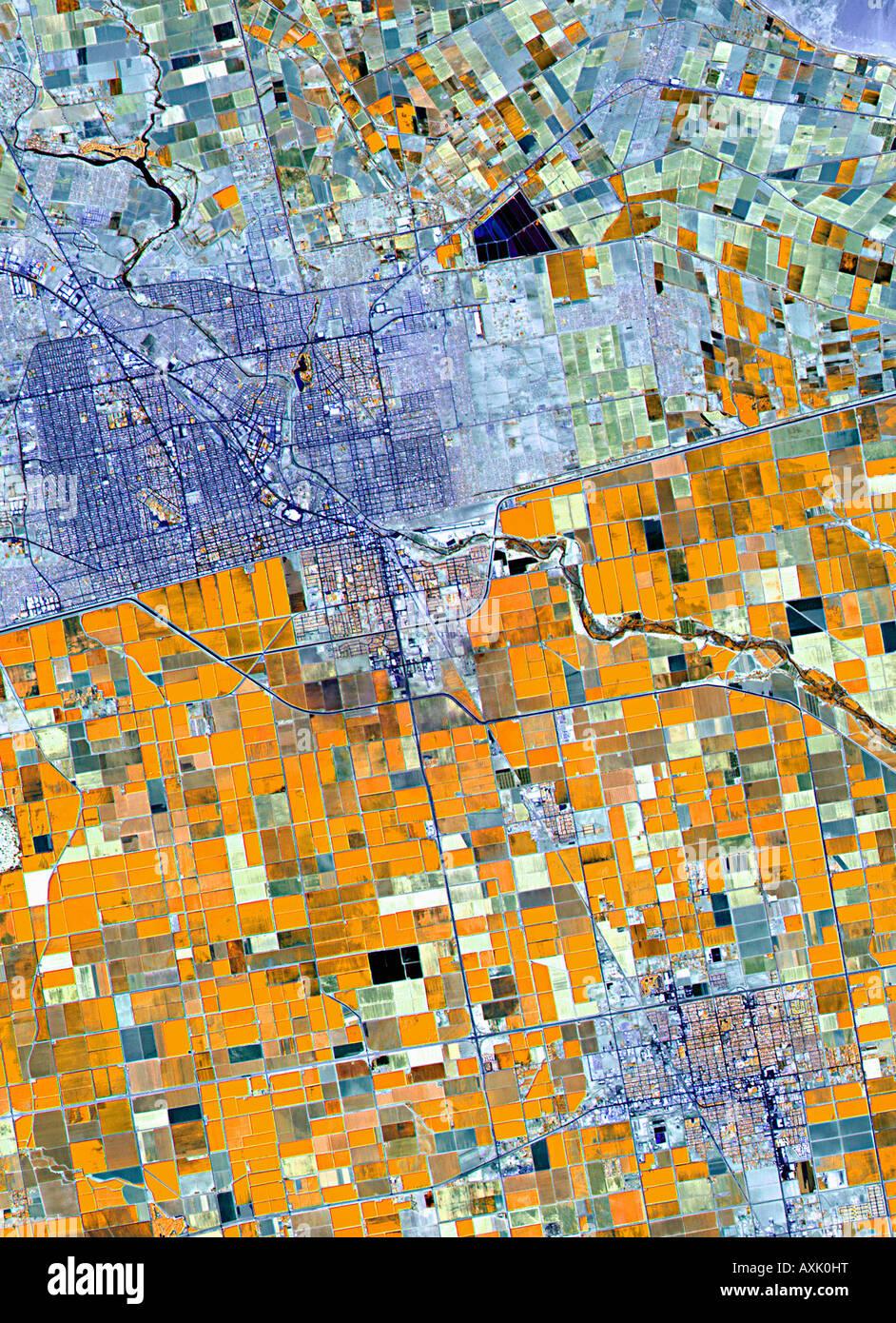 Satellitenbild von Ackerland Deutschland Stockbild
