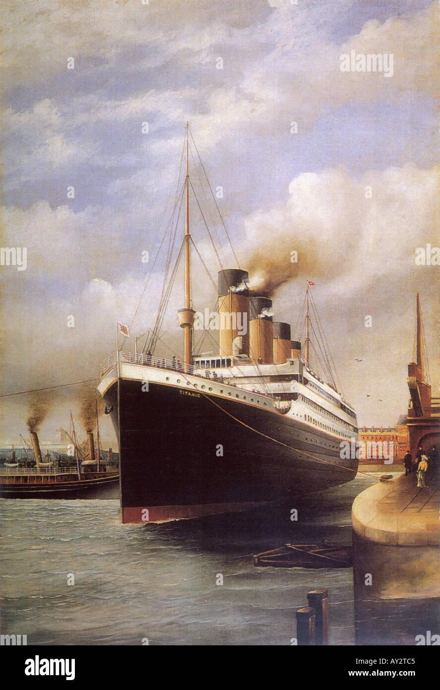 Titanic In Docks Col Stockbild