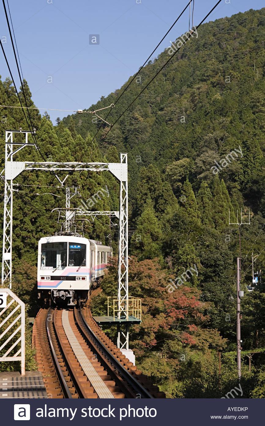 Zug durch Berge Stockbild