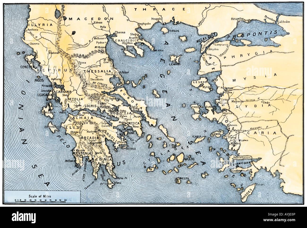 Karte des antiken Griechenlands und seiner Kolonien Stockbild