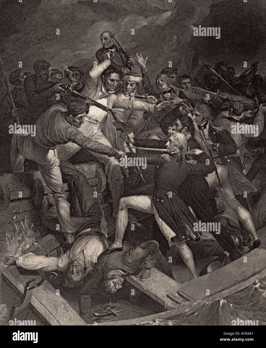 Nelsons Konflikt mit einem spanischen Start Stockbild