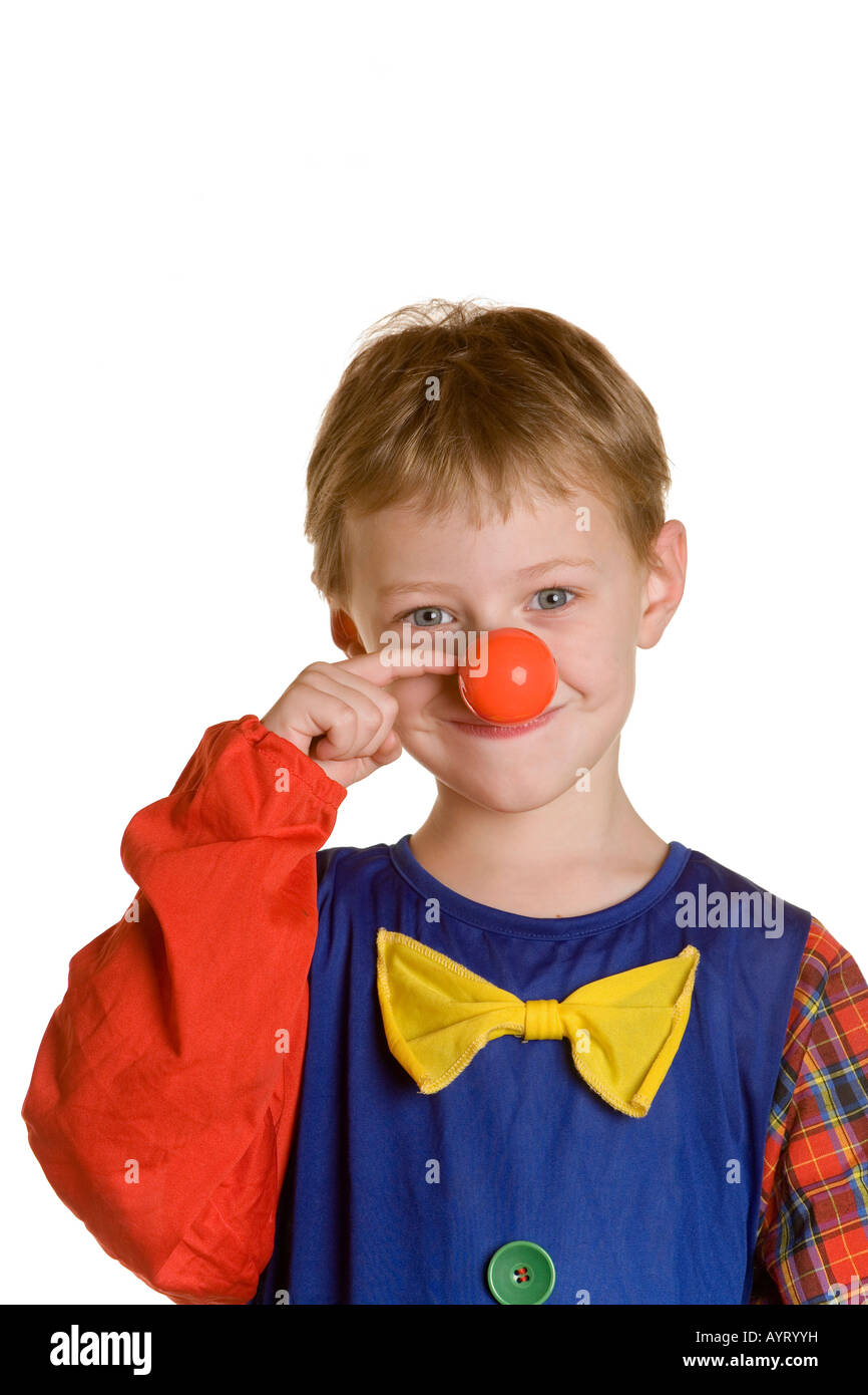 Vier-jähriger Junge als Clown verkleidet Stockbild