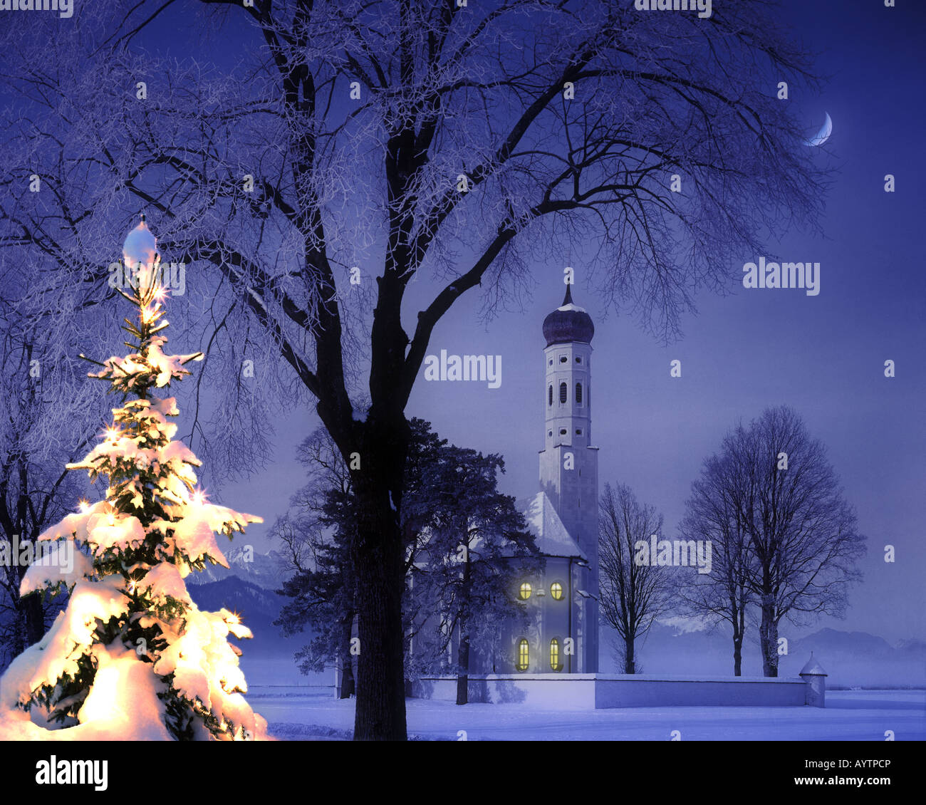 DE - Bayern: Weihnachten im St.Colman in der Nähe von Schwangau im Allgäu Stockbild