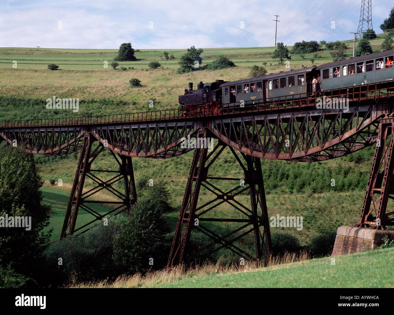 Museumseisenbahn Auf Einem Viadukt, Sauschwaenzlebahn, Blumberg (Baden), Baden-Württemberg Stockbild