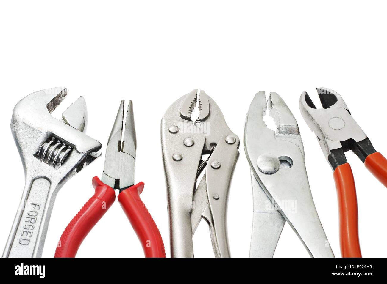 Heimwerker Werkzeuge auf weißem Hintergrund angeordnet Stockbild