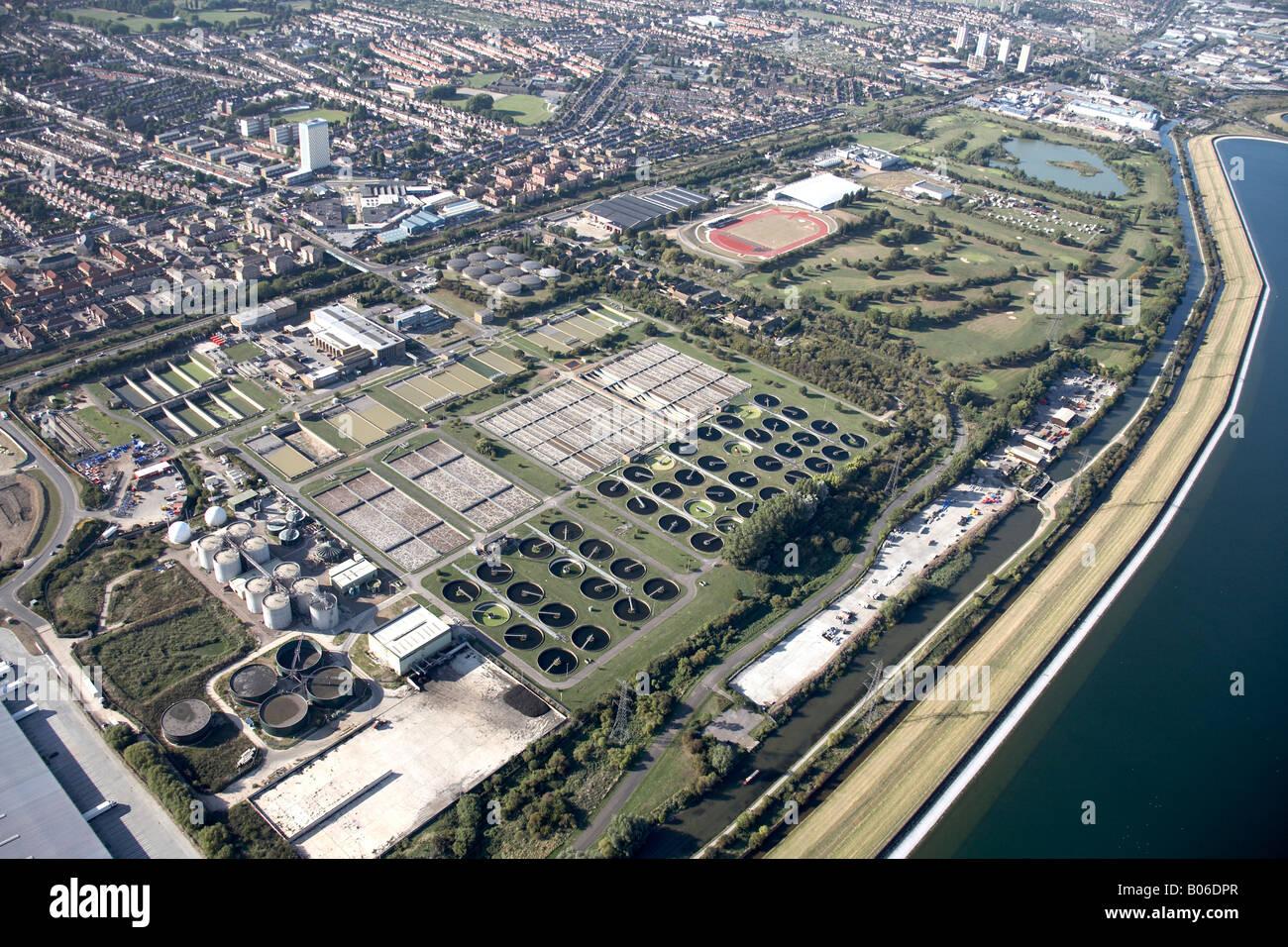 Luftbild Norden westlich von Picketts Lock öffentlichen Golfplatz Leisure Centre und Abwasser Werke William Stockbild
