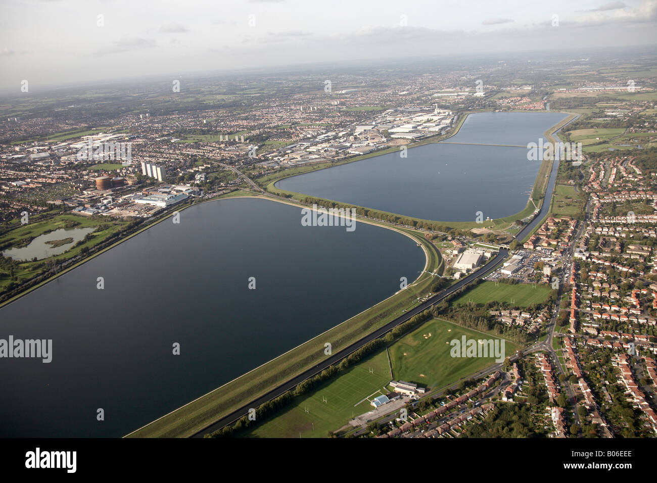 Luftbild, Nord-westlich von William Girling King George s Stauseen Pickett s Lock Golfplatz Spielfelder London Häuser Stockbild