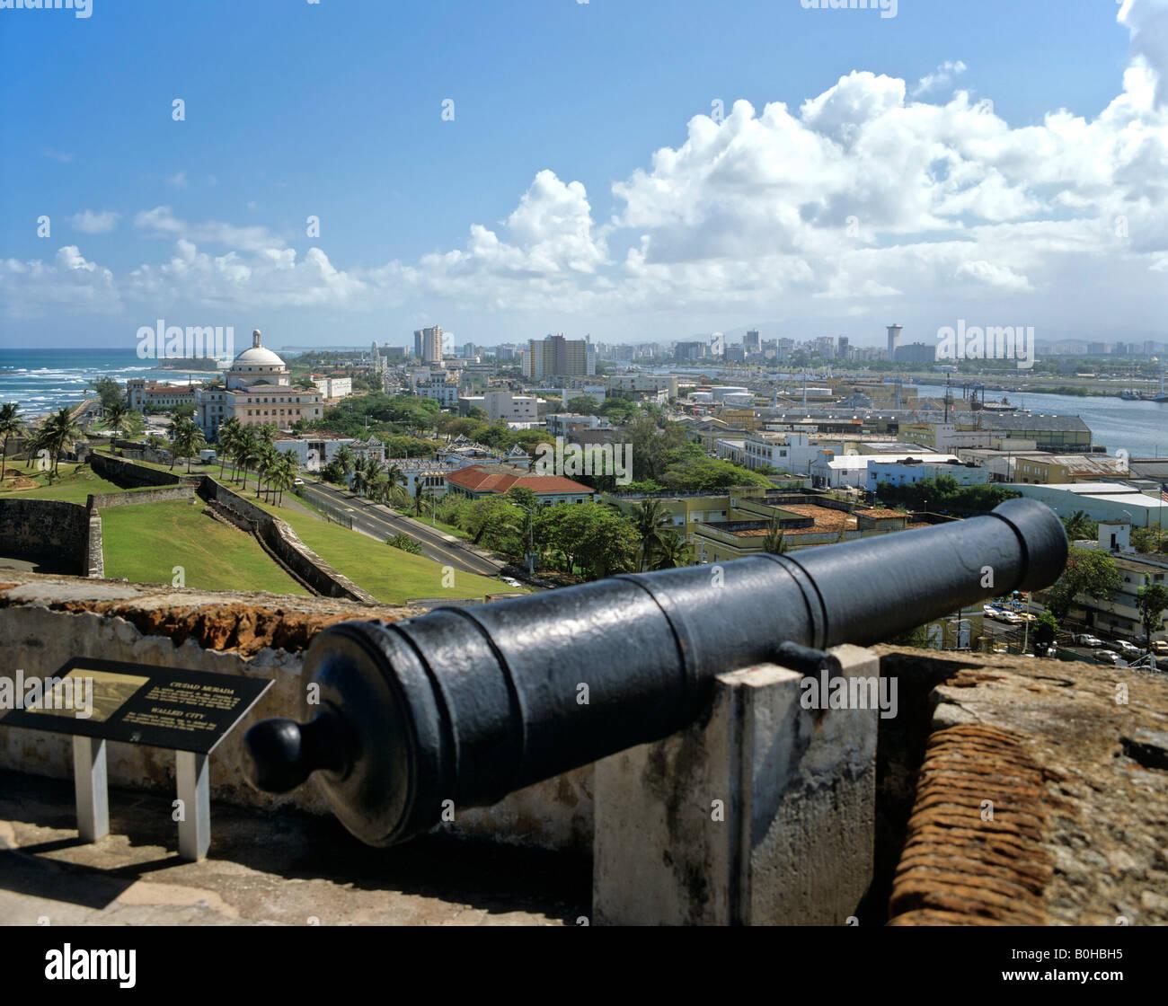 El Castillo San Felipe del Morro, Festung, Cannon, UNESCO-Weltkulturerbe, San Juan, Puerto Rico, Karibik Stockbild