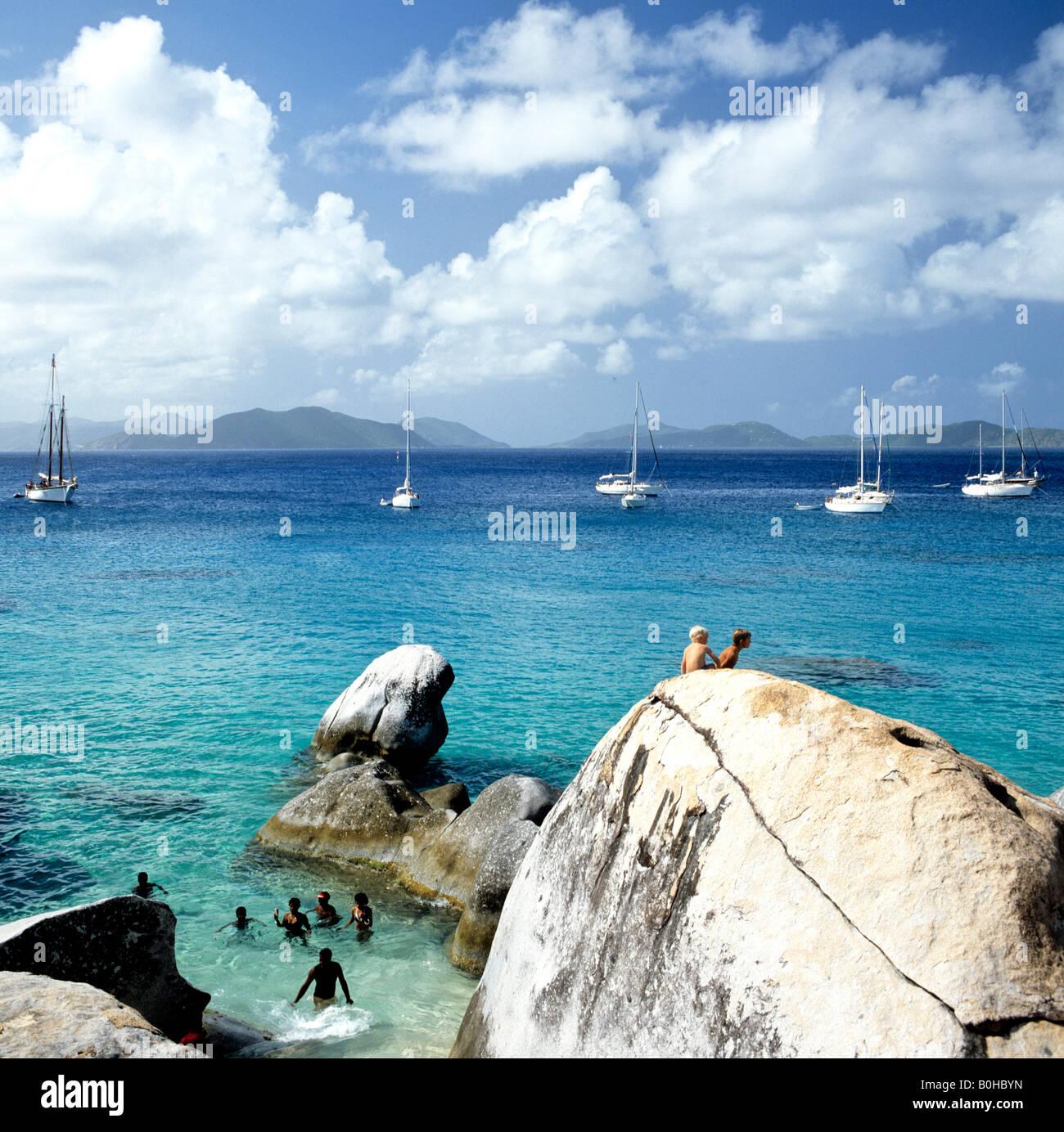 Felsformation, Virgin Gorda, Britische Jungferninseln, kleine Antillen, Karibik Stockbild