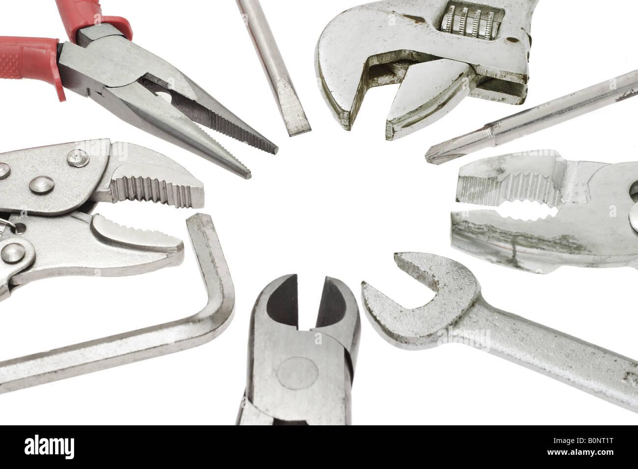 Heimwerker Werkzeuge auf weißem Hintergrund Stockbild