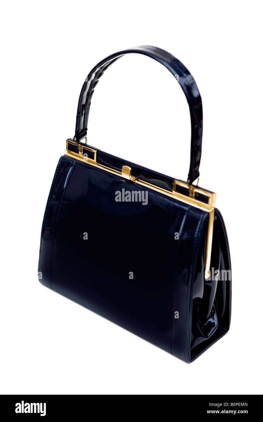 der 1950 / 60er Jahre Vintage schwarzem Lackleder Handtasche - shot vor einem weißen Hintergrund Stockbild