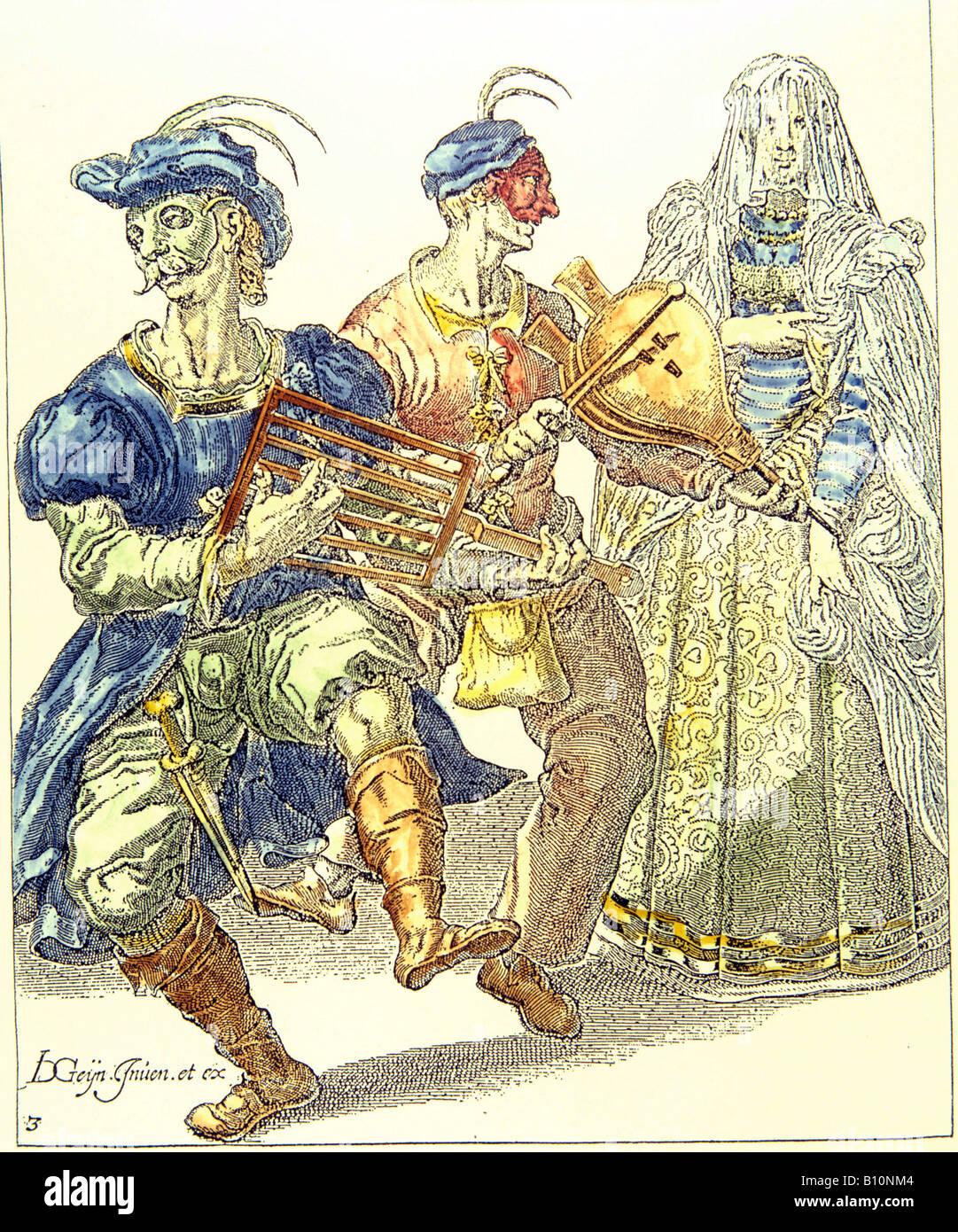 Venezianische Maskerade Dancient im Kostüm-17. Cent Copyright antike Kunst Architektur Sammlung Ltd Stockbild