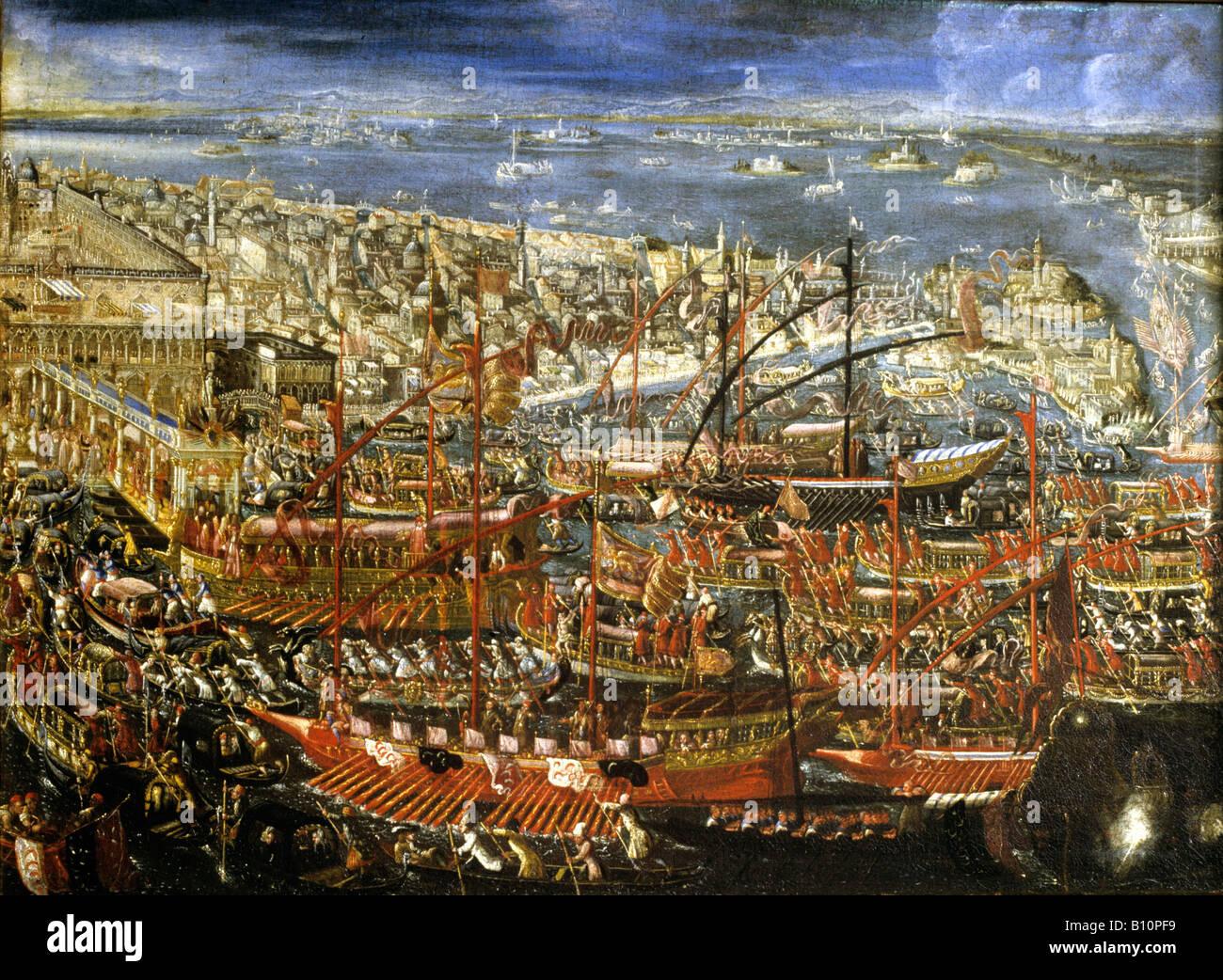 Venezianische Malerei Lastkähne in einer Zeremonie auf dem Wasser 16. Jh. Stockbild