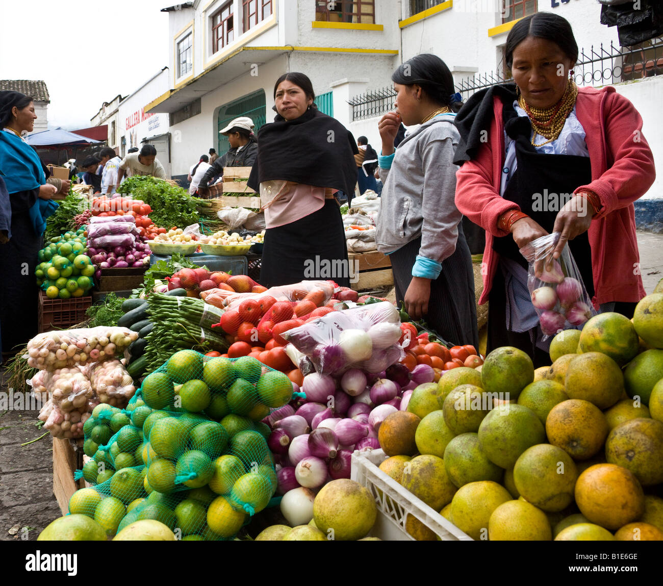 Lebensmittel-Markt in Otavalo im Norden Ecuadors in Südamerika Stockbild