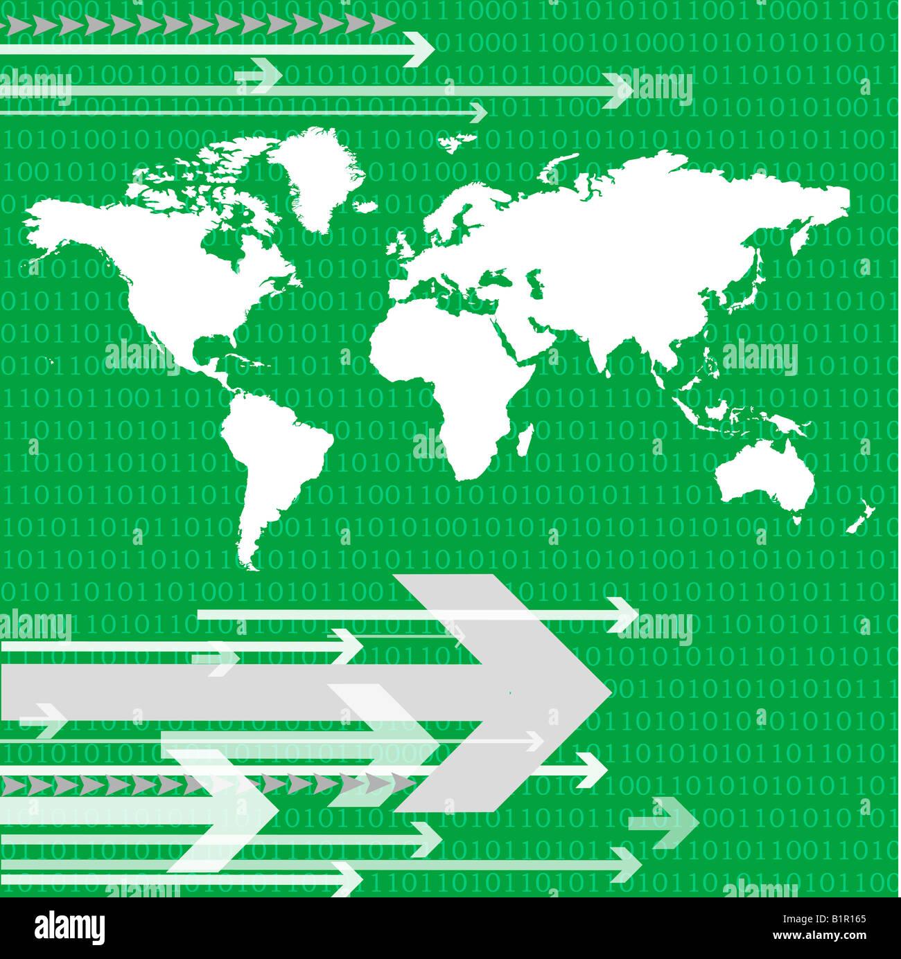 Weltkarte mit Pfeilen Stockbild