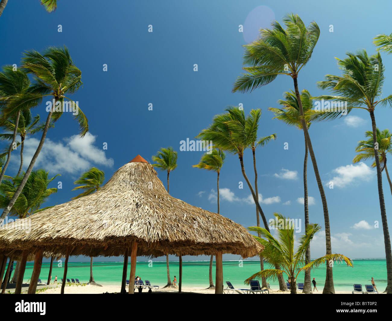 Dominikanische Republik Punta Cana Bavaro Strand Palmen und Palapa am weißen Sandstrand mit Blick aufs Meer Stockbild