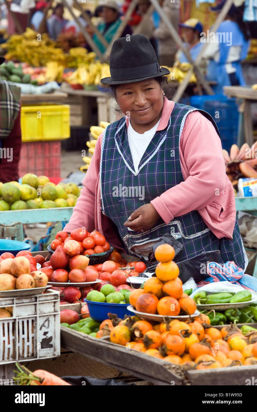 Ecuadorianische Frau mit Obst auf einem Markt in dem Dorf Saquisili in der Cotopaxi-Region von Ecuador in Südamerika Stockbild