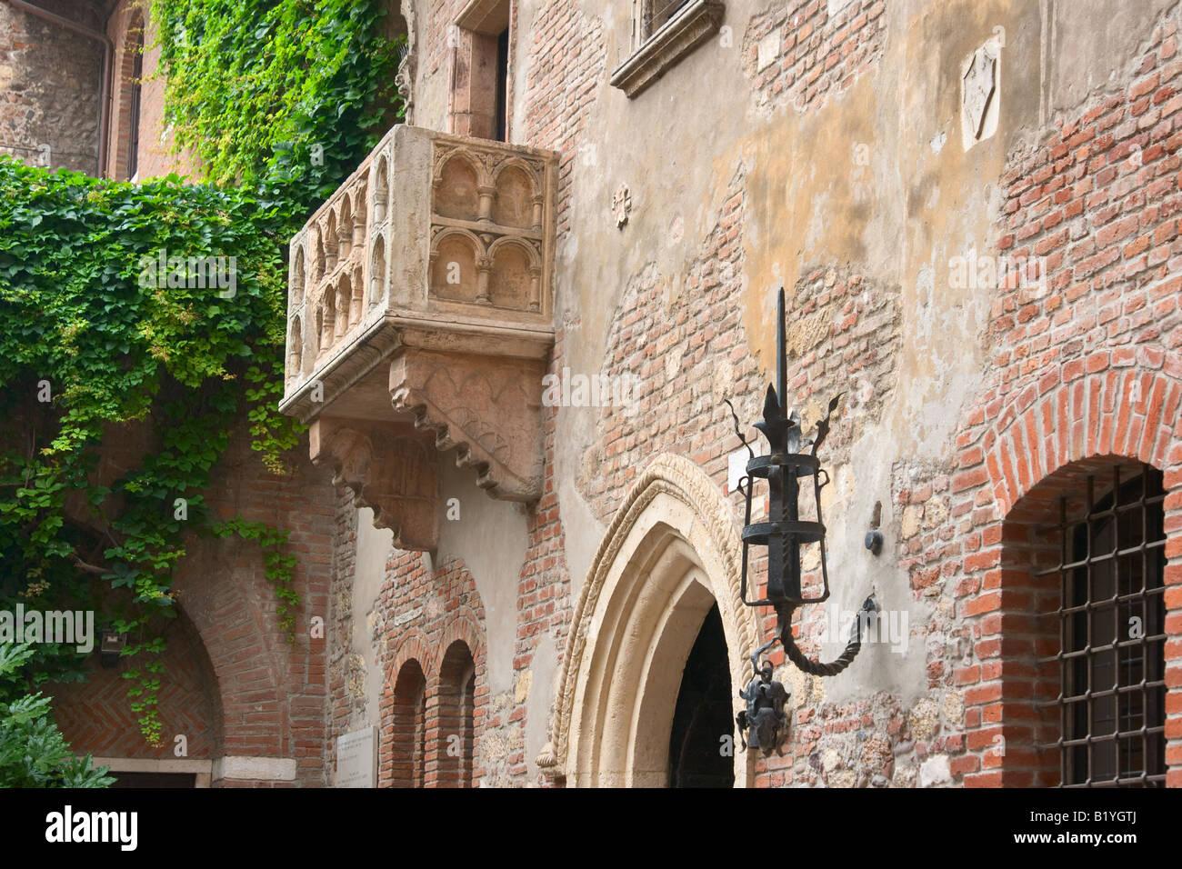 Romeo und Julia Balkon Verona Italien horizontal Stockbild