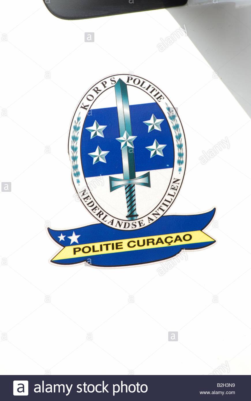 Polizei-Abzeichen Korps Politie Nederlanse Antillen Curacao, Niederländische Antillen Curacao Stockbild