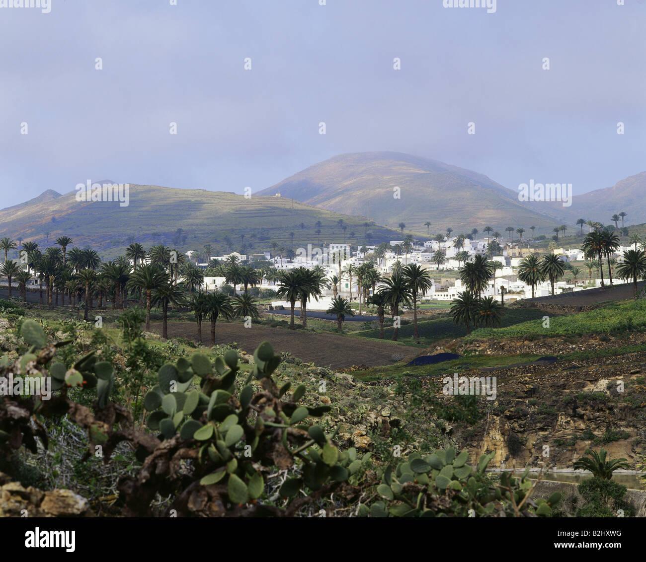 Geographie / Reisen, Spanien, Kanarische Inseln, Lanzarote, Haria, Stadt, Vulkan-Inseln Stockfoto