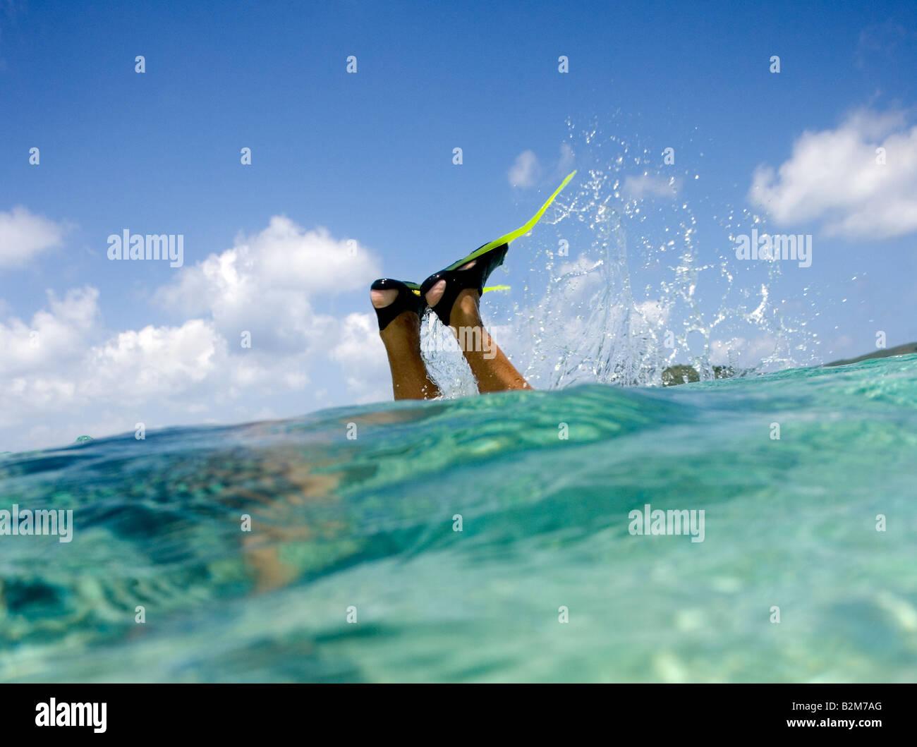Ein Mann, Schnorcheln in klaren seichten Karibik Wasser alles, was wir sehen, sind die Flossen und seine Unterschenkel Stockbild