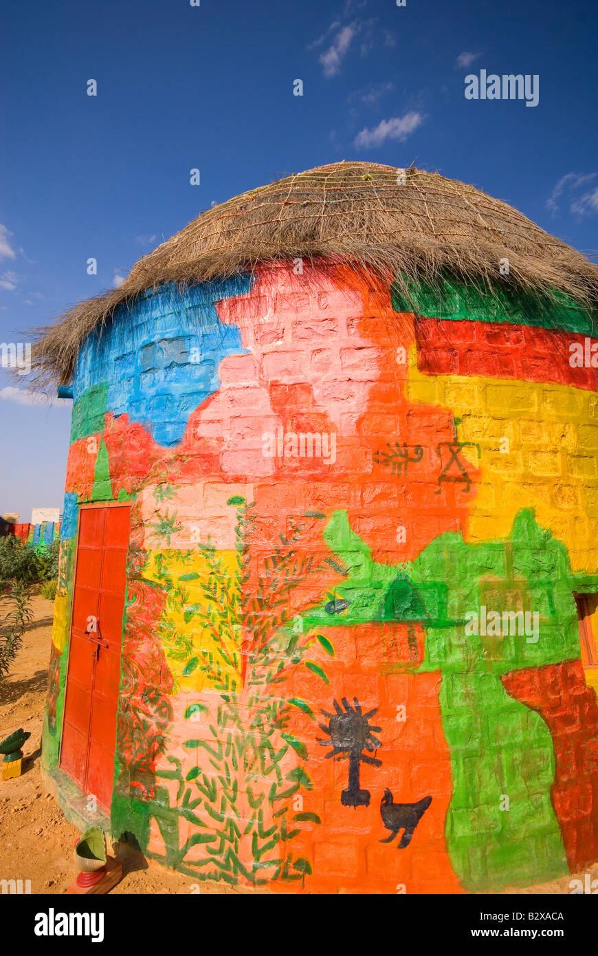 Künstlerkolonie, große Thar-Wüste, in der Nähe von Jaisalmer, Rajasthan, Indien, Subkontinent, Asien Stockfoto