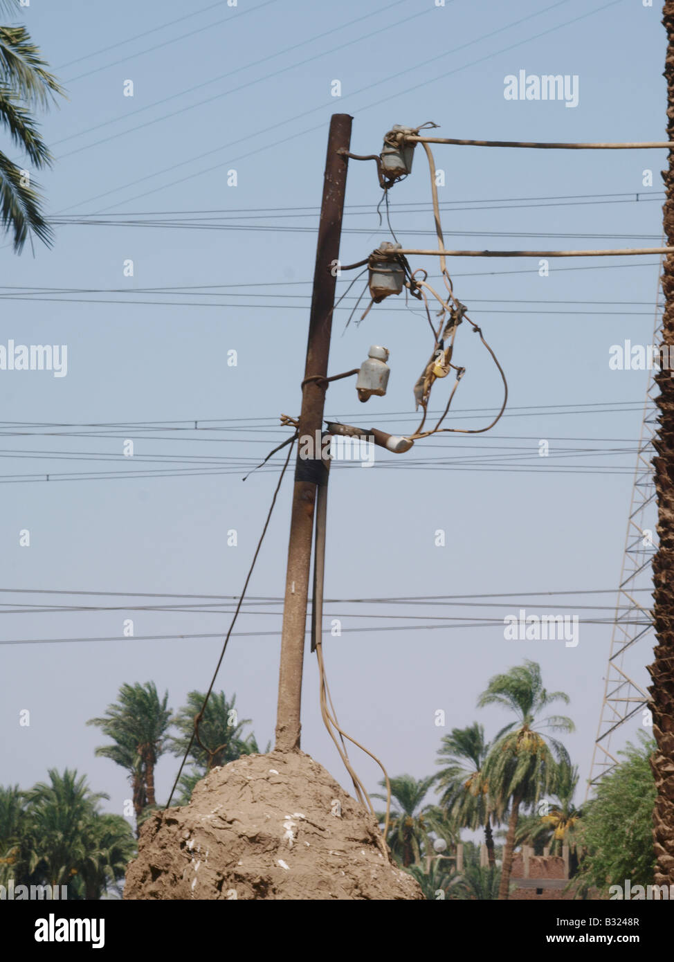 Power Kabel Luxor Ägypten Afrika Stockbild