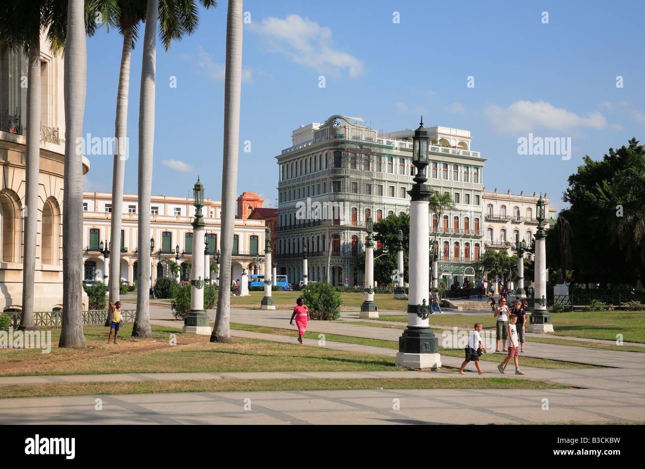 Parque Central am Boulevard Paseo de Marti platz am Capitol Havanna Havanna Habana Kuba Stockbild