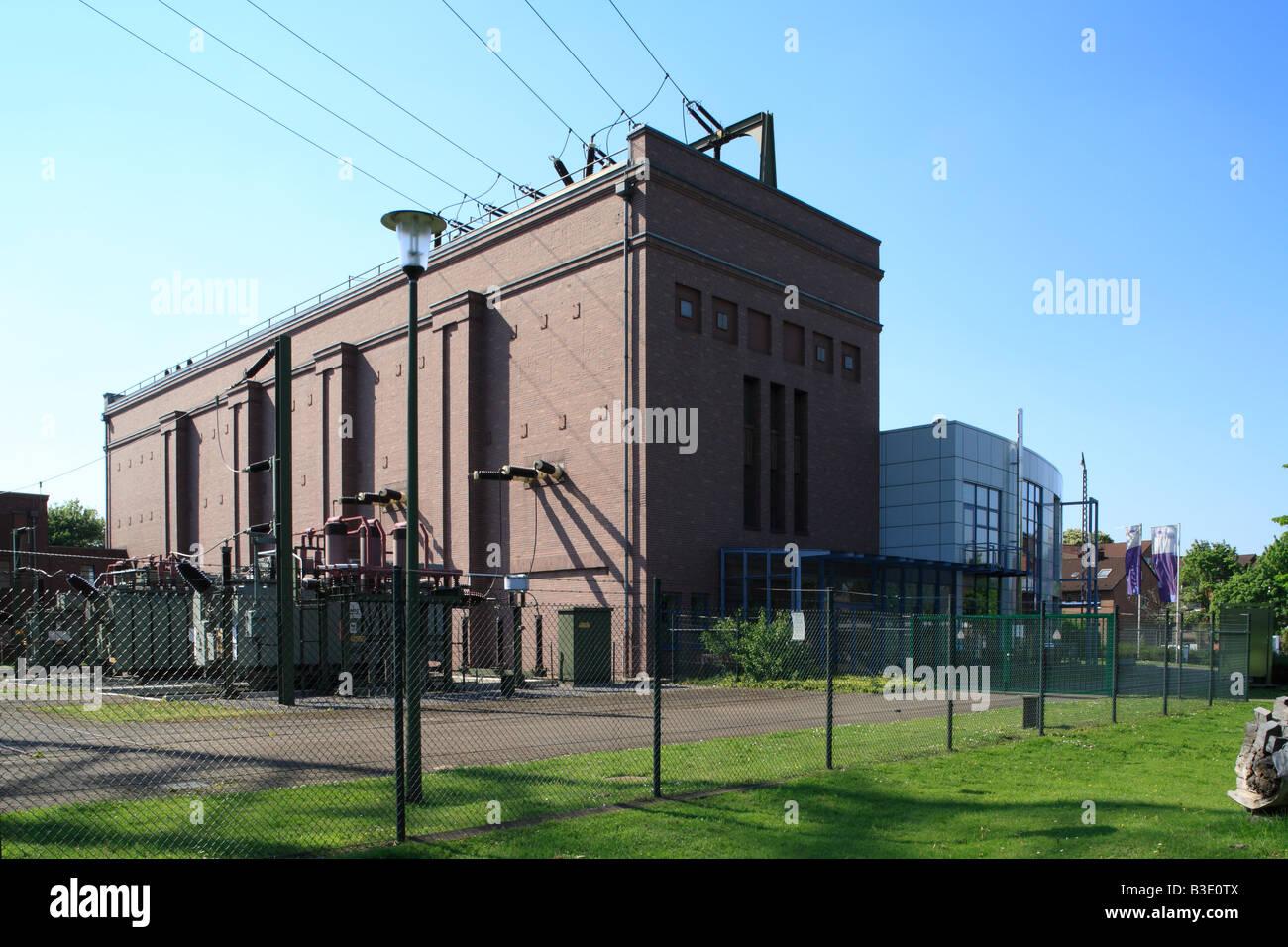 """Route der Industriekultur, Umspannwerk, Schalthaus, Vereinigte Elektrizitaetswerke Westfalen, Museum """"Strom Stockbild"""
