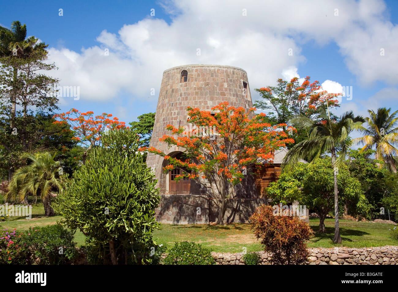 Zuckermühle konvertiert Ferienhaus in Nevis in der Karibik Stockbild